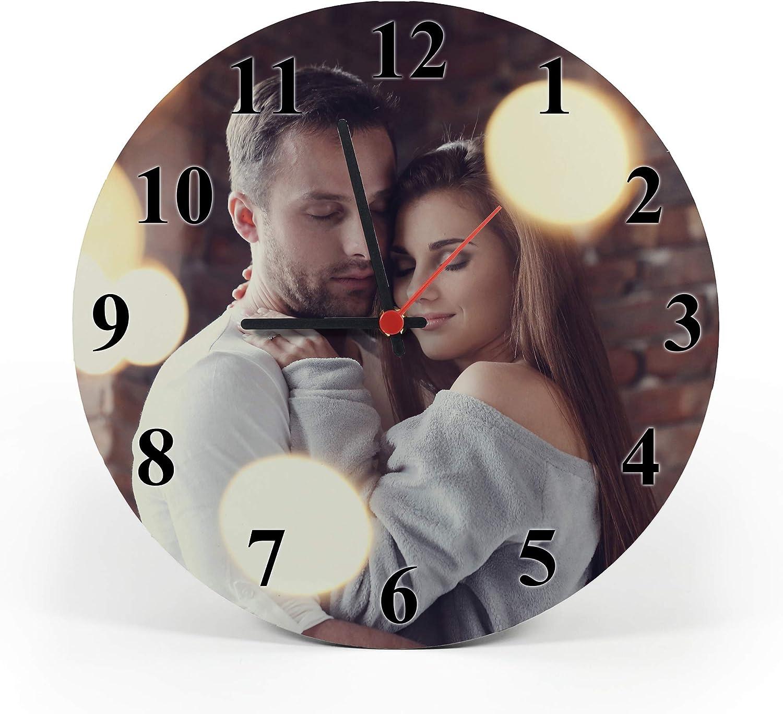 Gifty Lab Reloj de Pared Personalizado con tu propria Foto - Reloj de Pared en Madera - Redondo Diámetro 30cm, Elegant Numbers