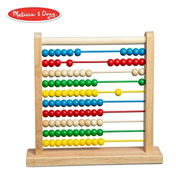Melissa Doug Abacus Classic Wooden Toy Developmental Toy Brightly Colored Wooden Beads 8 Extension Activities