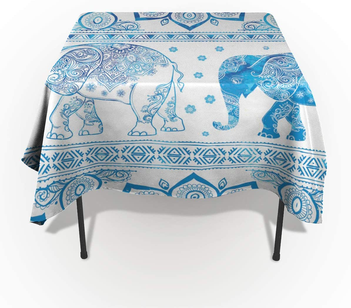 BMALL Cotton Linen Tablecloth Blue Mandara Elephant Table Cover for Kitchen Dinning Tabletop Decoration 60x90inch