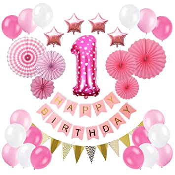 1st Birthday Decorations Kit For Baby Girl First Giant Number One Balloon