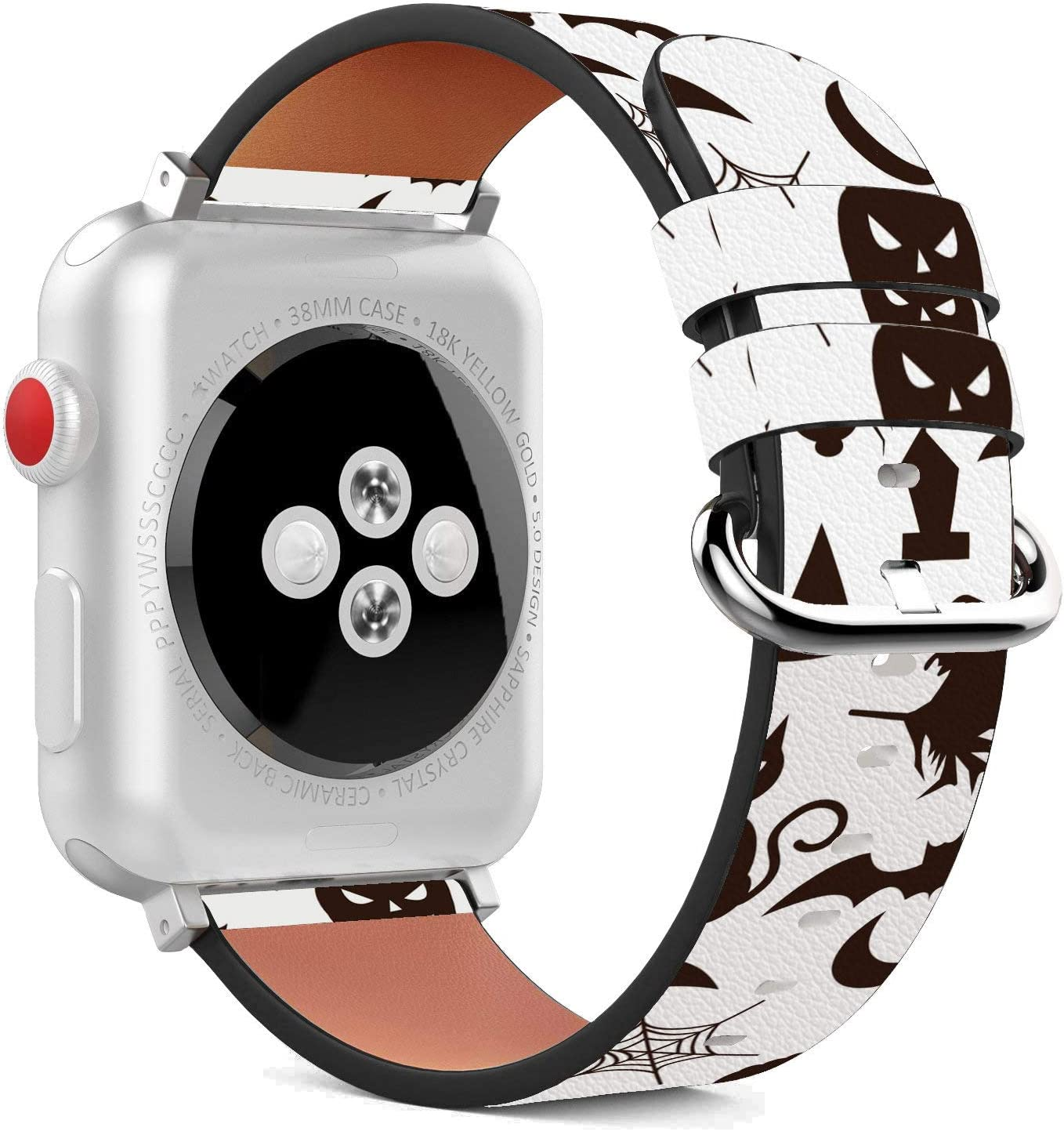 Compatible with Apple Watch - 42mm / 44mm (Serie 5,4,3,2,1) Leather Wristband Bracelet with Stainless Steel Clasp and Adapters - Halloween Black Cat