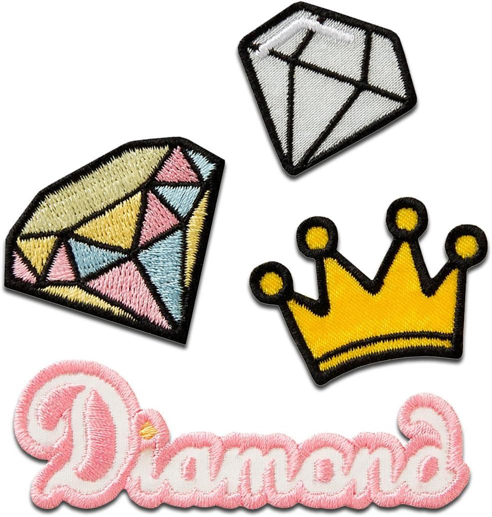Toppe termoadesive rosa//giallo Set corona diamante Diamond diverse dimensioni Patch Toppa ricamate Applicazioni Ricamata da cucire adesive