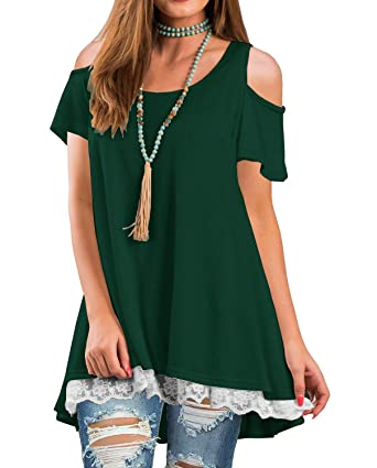 d02e62c77775 Unidear Womens Cold Shoulder Short Sleeve Lace Hem Tunic T-Shirt Top at  Amazon Women s Clothing store