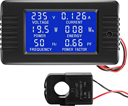 100A AC LCD Digital Panel Voltaje Monitor Medidor de energía vatios KWh Voltímetro Amperímetro