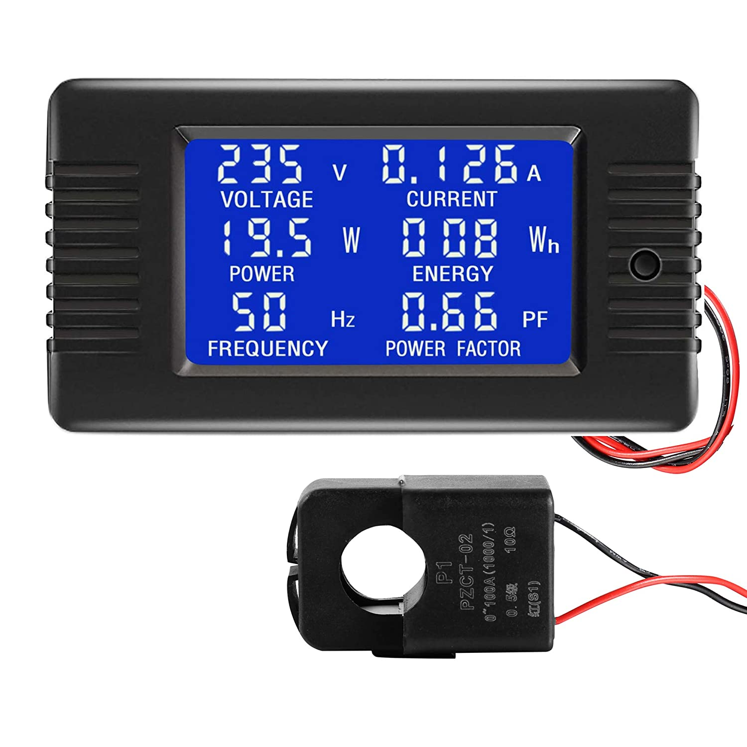 CrocSee AC 80-260V 100A CRS-022B LCD Display Digital Current Voltage Power Energy Frequency Power Factor Multimeter Ammeter Voltmeter with 100A Split Core Current Transformer