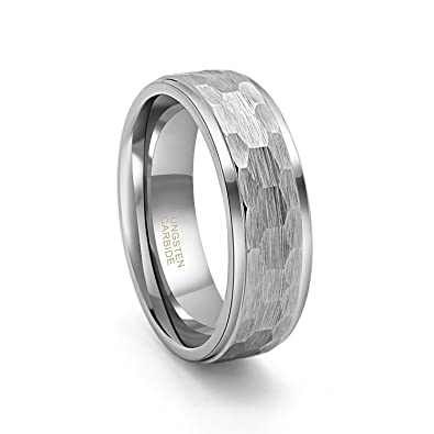 758031d6fe603a 8mm Tungsten Metal Ring Hammer Comfort Fit Faceted Men Wedding Band  Polished Step Edge (9