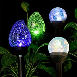 GIGALUMI Solar Lights Outdoor Christmas Yard Decoration, 3 Pack Cracked Glass Ball Dual LED Garden Lights, 3 Pack Cracked Glass Flame Shaped Dual LED Garden Lights. Landscape/Pathway Lights for Path,