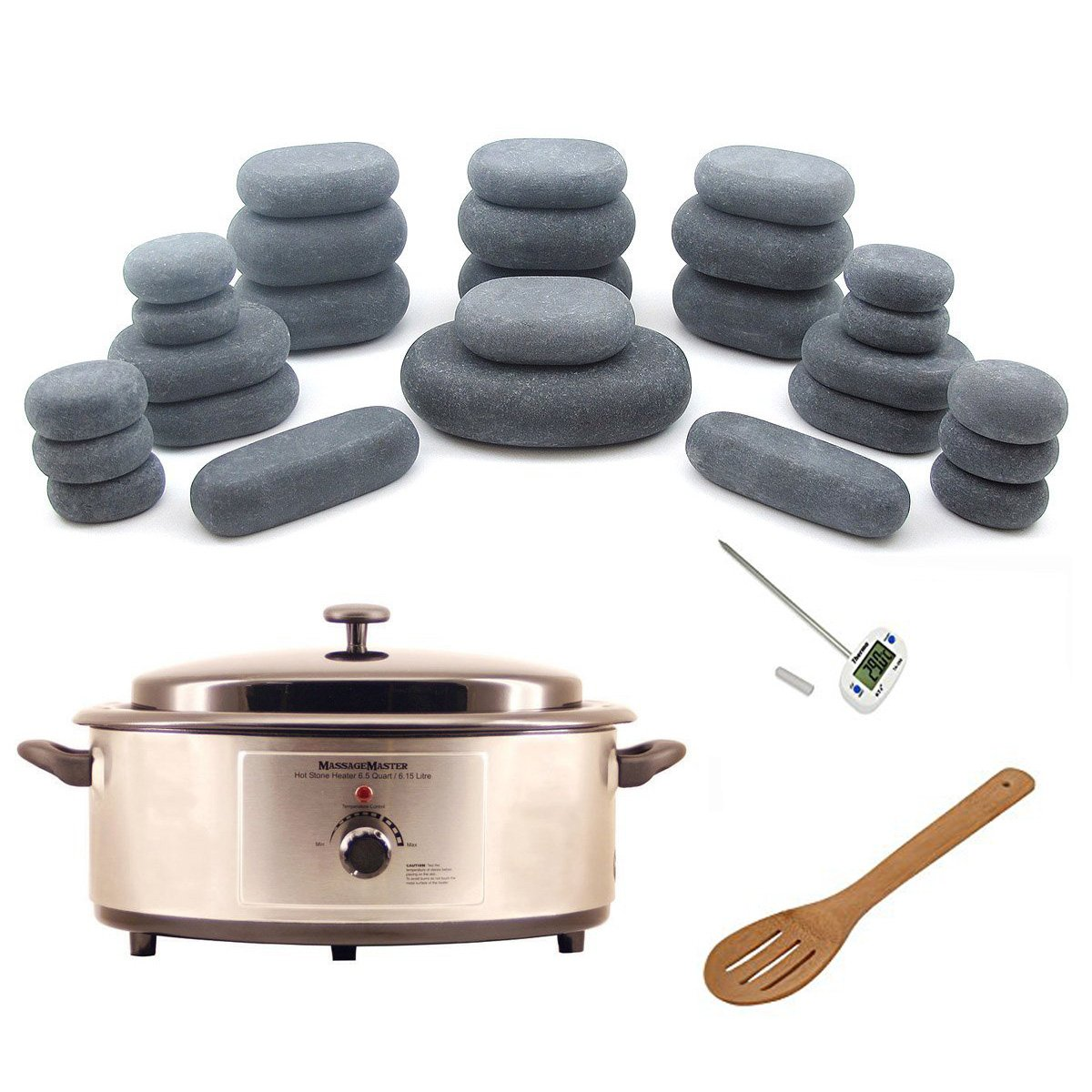 Hot Stone Warmer Zabrina Massage Stones Warmer HOT STONE MASSAGE KIT: 27 Basalt Stones + 6.5 Quart Hot Stone Heater by Zabrina