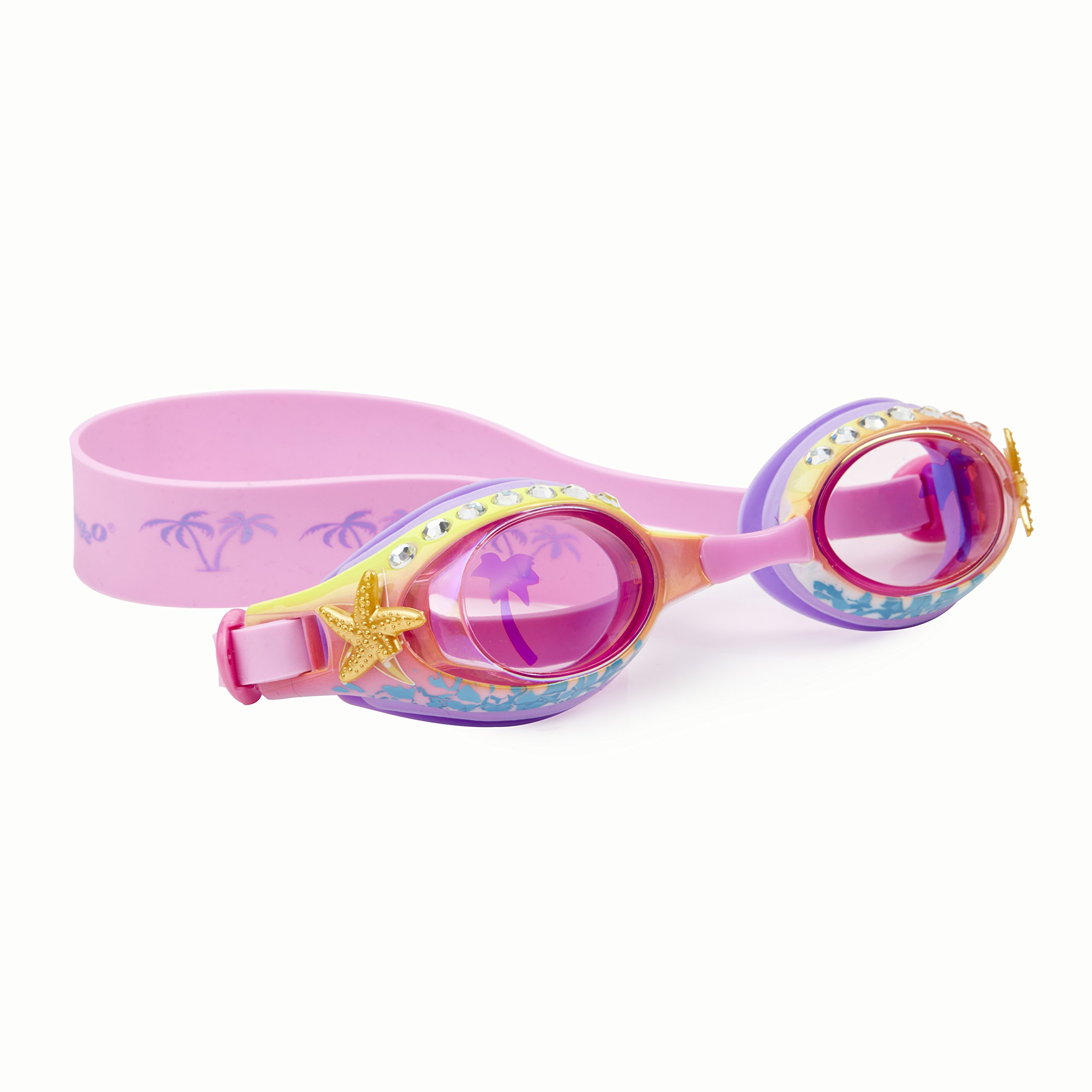 Beach Themed Swimming Goggles For Kids by Bling2O - Anti Fog, No Leak, Non Slip and UV Protection - Pink Sand Colored Fun Water Accessory Includes Hard Case