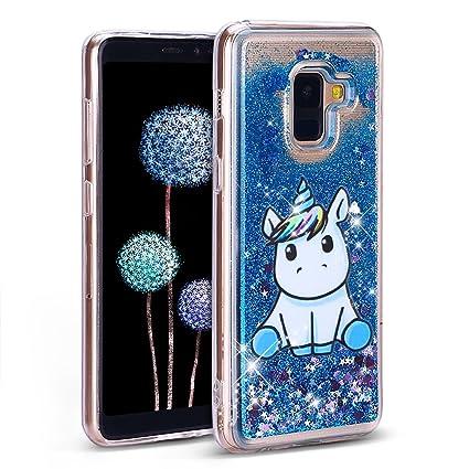 Yomiro Funda para Samsung A8 2018 TPU Transparente Carcasa para Samsung Galaxy A8 2018 Suave Silicona Quicksand Carcasas Bumper Cover Case Unicornio