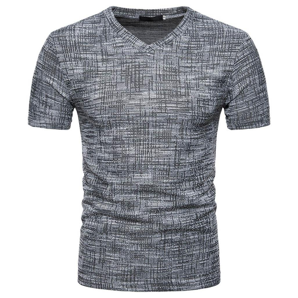 NREALY Men's Summer Casual SOID Hole V Neck Pullover T-Shirt Top Blouse Black