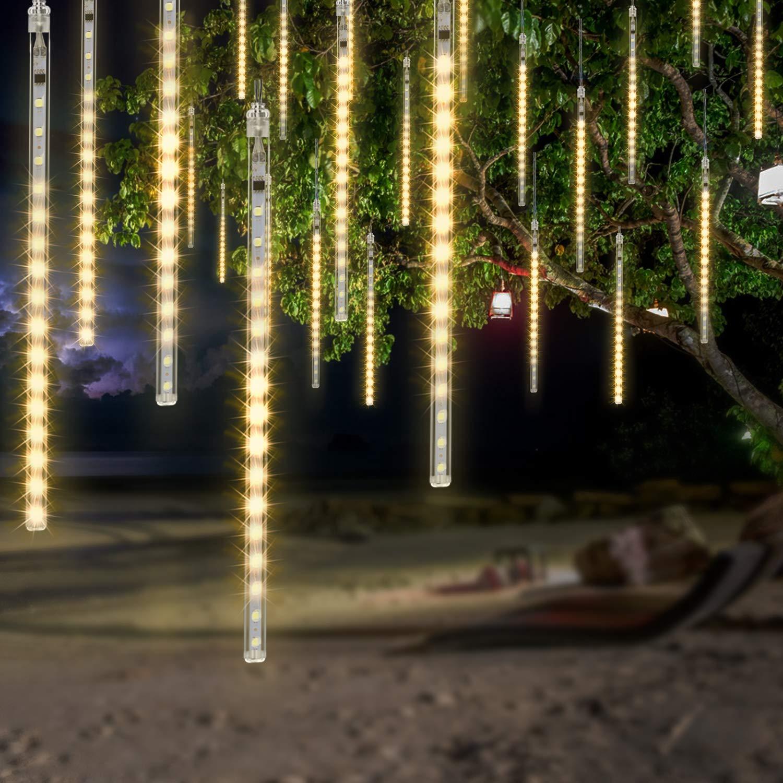 OMGAI LED Meteor Shower Rain Lights - Waterproof Drop Icicle Snow Falling Raindrop 30cm 8 Tubes Cascading Lights for Wedding Xmas Home Décor, WarmWhite (UL Listed Plug)