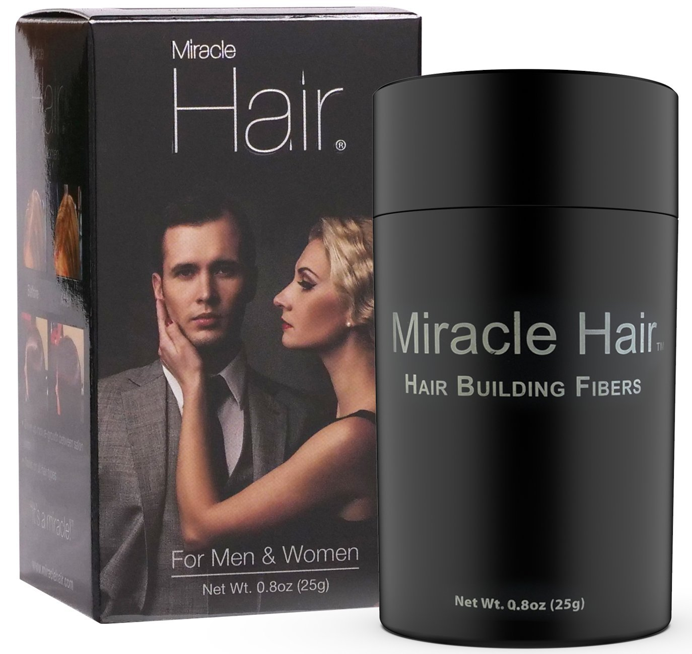 Miracle Hair – Hair Loss Concealer – Highest Quality Natural Hair Building Fibers Thickens Thinning Hair Instantly for Men And Women 25 Grams (75 Day Supply) Mir-9602