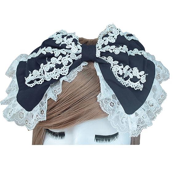 Punk Lolita Girls Black Hairband with Veil Lace Bow Gothic Women Headband