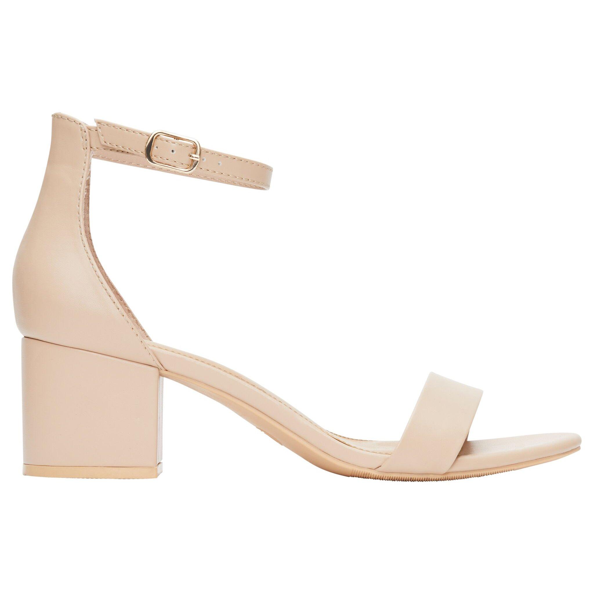 Rohb by Joyce Azria Calypso Mid Heel Ankle Strap Sandal (Nude Pu) Size 9.5