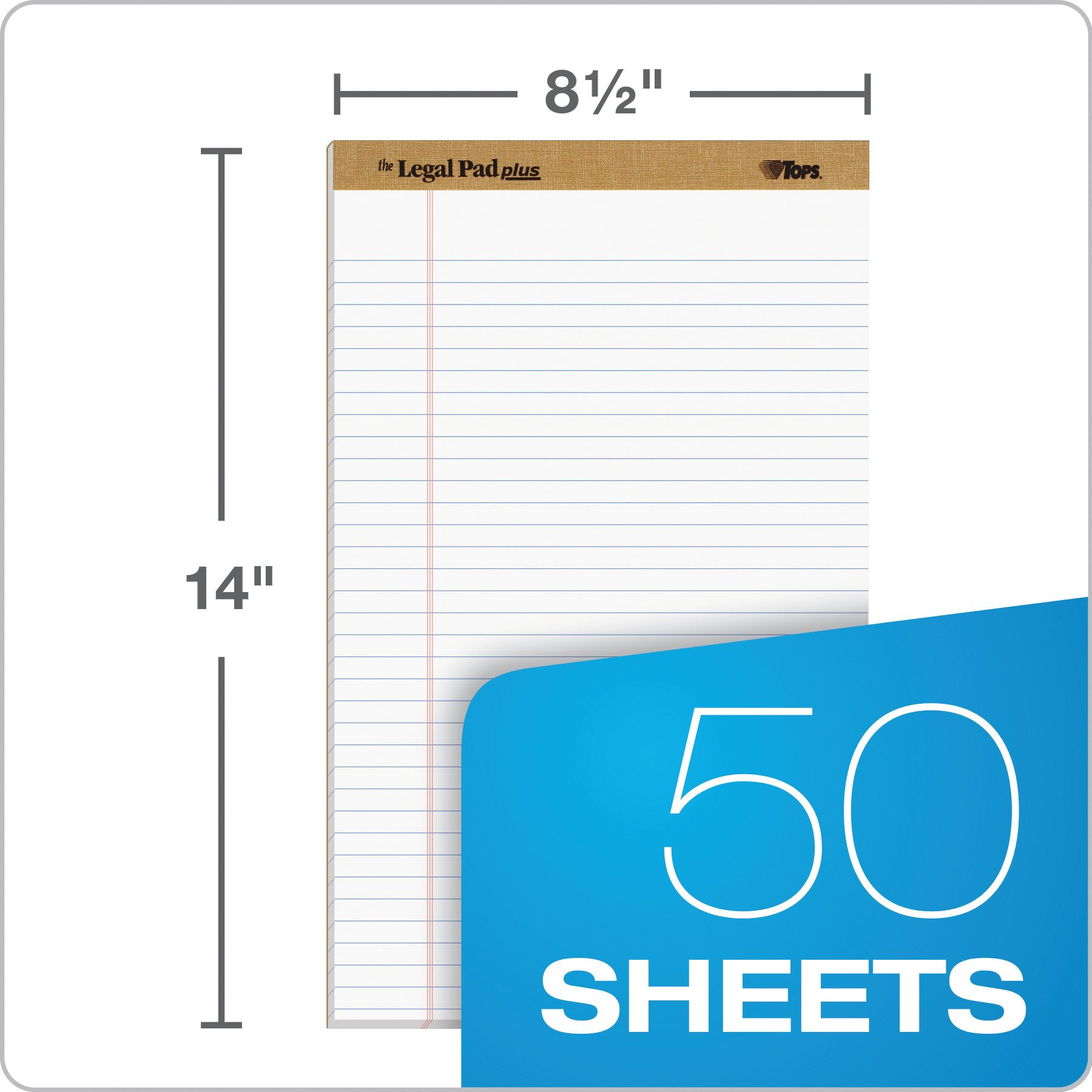 TOPS The Legal Pad Plus Writing Pads, 8-1/2'' x 14'', Legal Rule, 50 Sheets, 12 Pack (71573) by TOPS (Image #2)