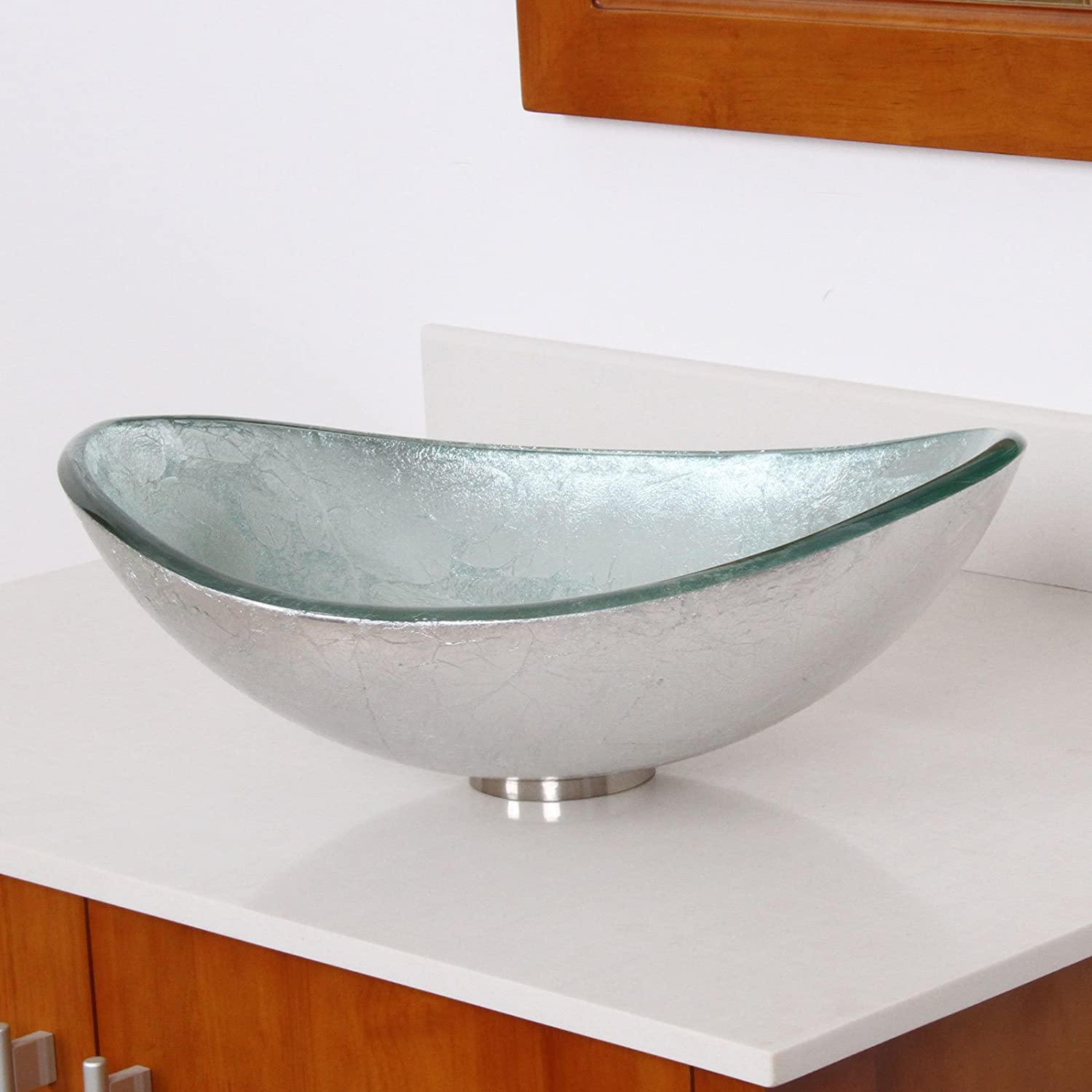 Hand Painted Foil Boat Shaped Oval Bowl Bottom Vessel Bathroom Sink Sink  Finish: Silver     Amazon.com