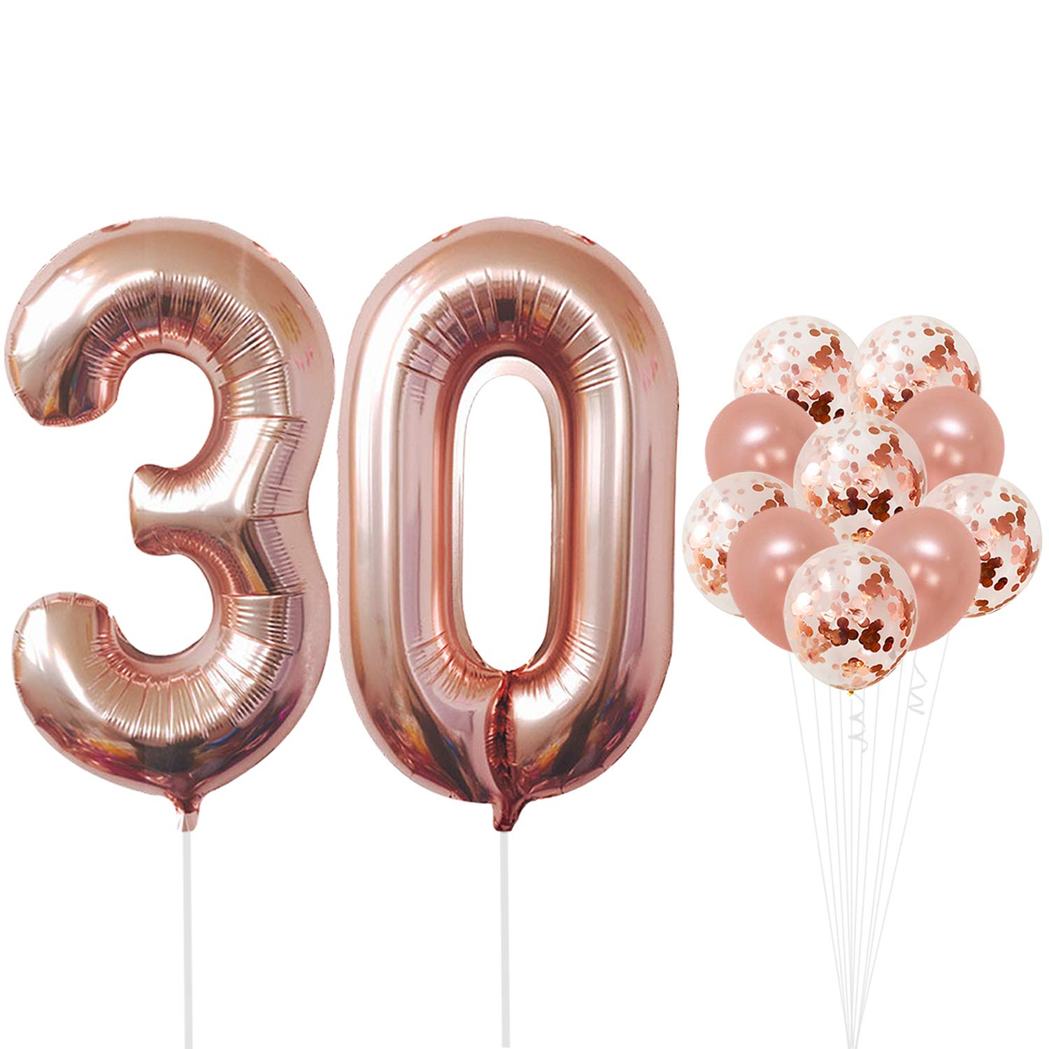 Rose Gold 30th Birthday Decorations Pack Of 21