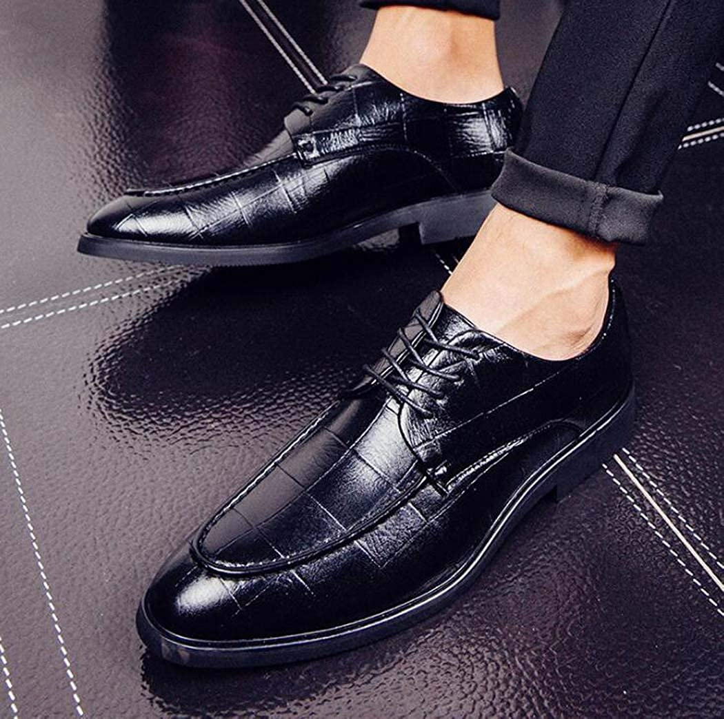 Handcrafted Mens Captoe Genuine Leather Lace Oxford Dress Shoes Formal Wedding Shoes Color : Black, Size : 42
