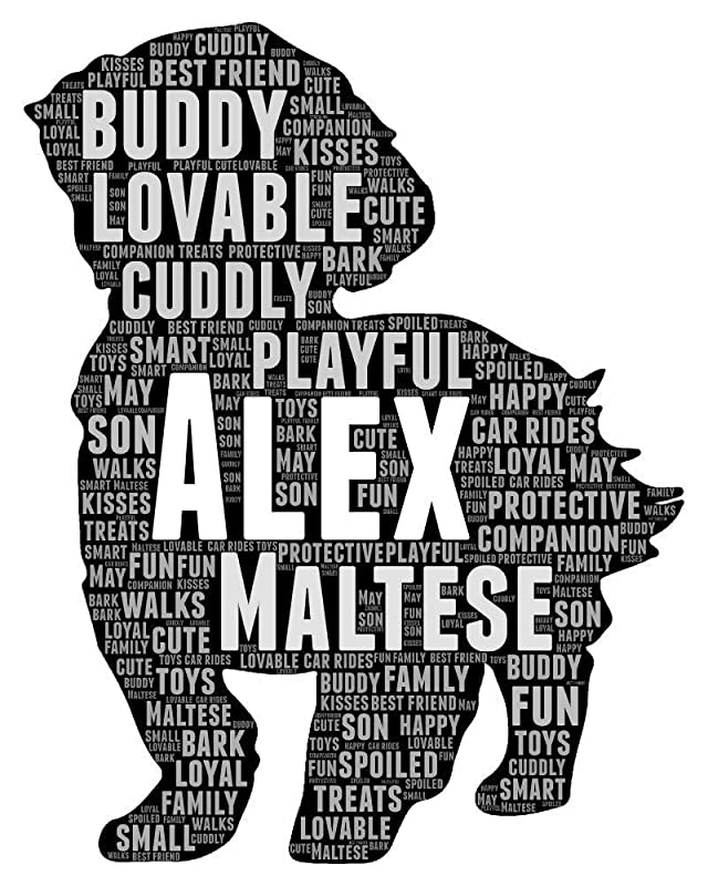 Maltese Dog Gifts for Women - Personalized Dogs Portrait Gift for Pet Owner - Animal Pet Typography Wordle Wordart Portrait Wall Decor Print 8x10 Inch Picture…