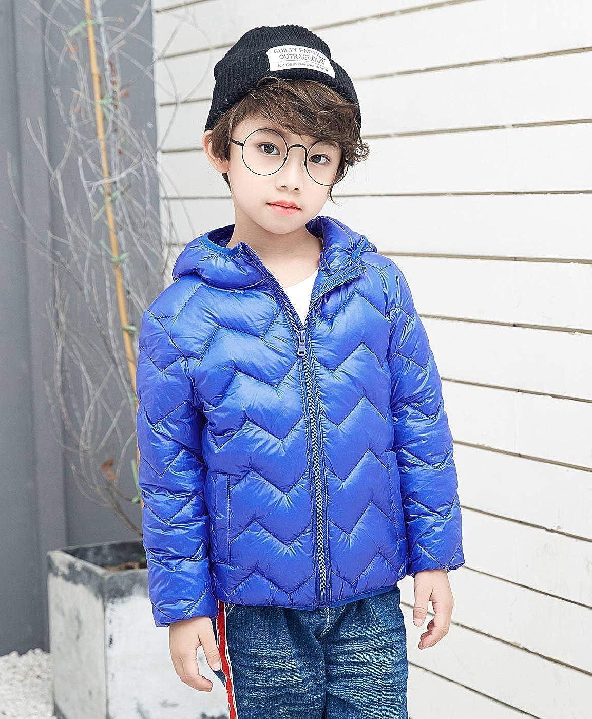 Aivtalk Boys Girls Lightweight Puffer Down Jacket Hooded Solid Winter Outerwear