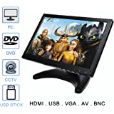 TOGUARD 10.1 inch Monitor Original Samsung IPS Screen 1280*800 HD Color Display Screen Security CCTV Monitor Video and Audio Wide Viewing Angle AV/VGA/HDMI/BNC/USB Input Earphone Output