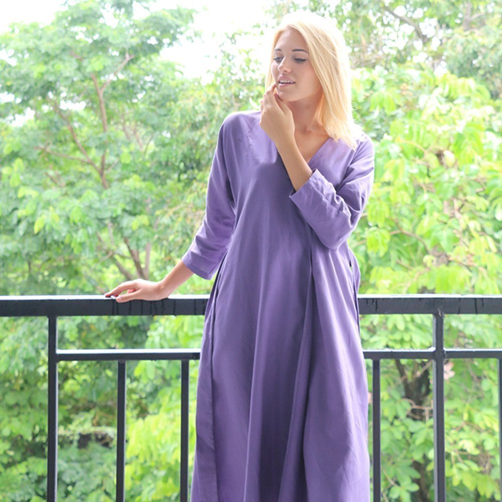 Linen Purple Maxi Dress