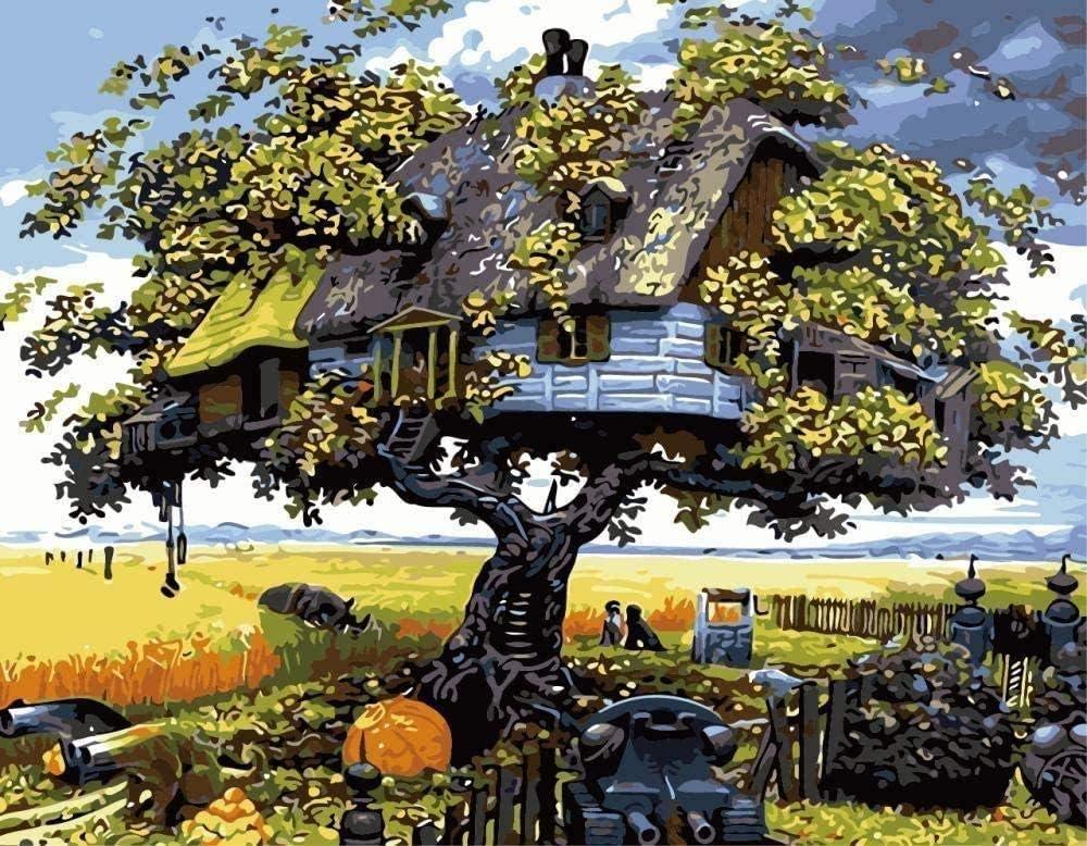 Pintura al óleo Pintura de la casa del árbol por números Kit de aceite para niños Decoración para niños Decoración Principiante Color de la lona 16X20 pulgadas