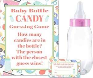 """Baby Shower Bottle Game Candy Guessing Game with 11"""" Baby Bottle Bank and 30 Cards (Pink)"""