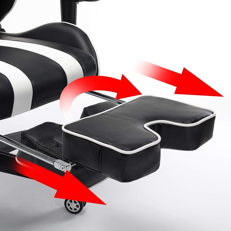 EUGAD Chaise de Gaming Chaise de Bureau en Similicuir,Chaise de Jeu pivotante r/églable en Hauteur avec Fonction /à Bascule,Noir Blanc 0021BGY
