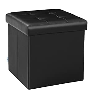"B FSOBEIIALEO A256 Folding Storage Ottoman Footrest Stool for Baby Faux Leather Seat Chest Black 12.6""X12.6""X12.6"", FSO"