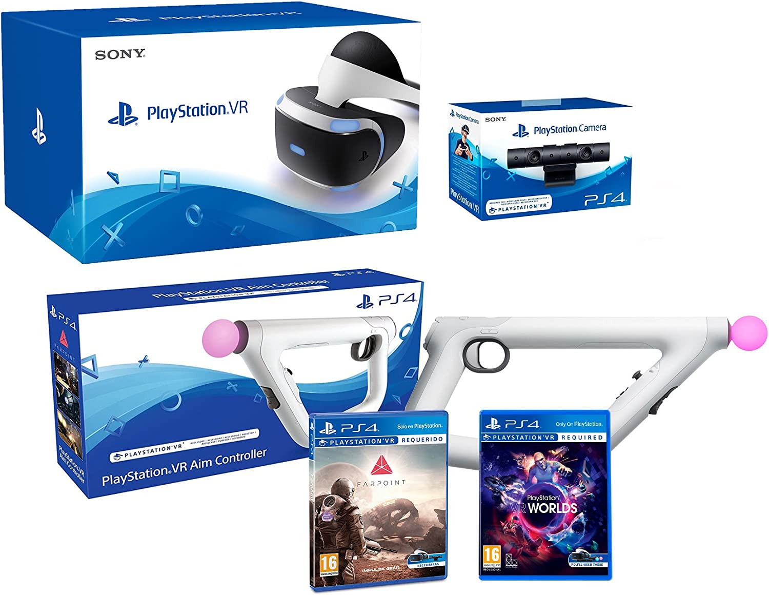 Playstation VR Farpoint Pack + AimController + VR Worlds + Camara ...