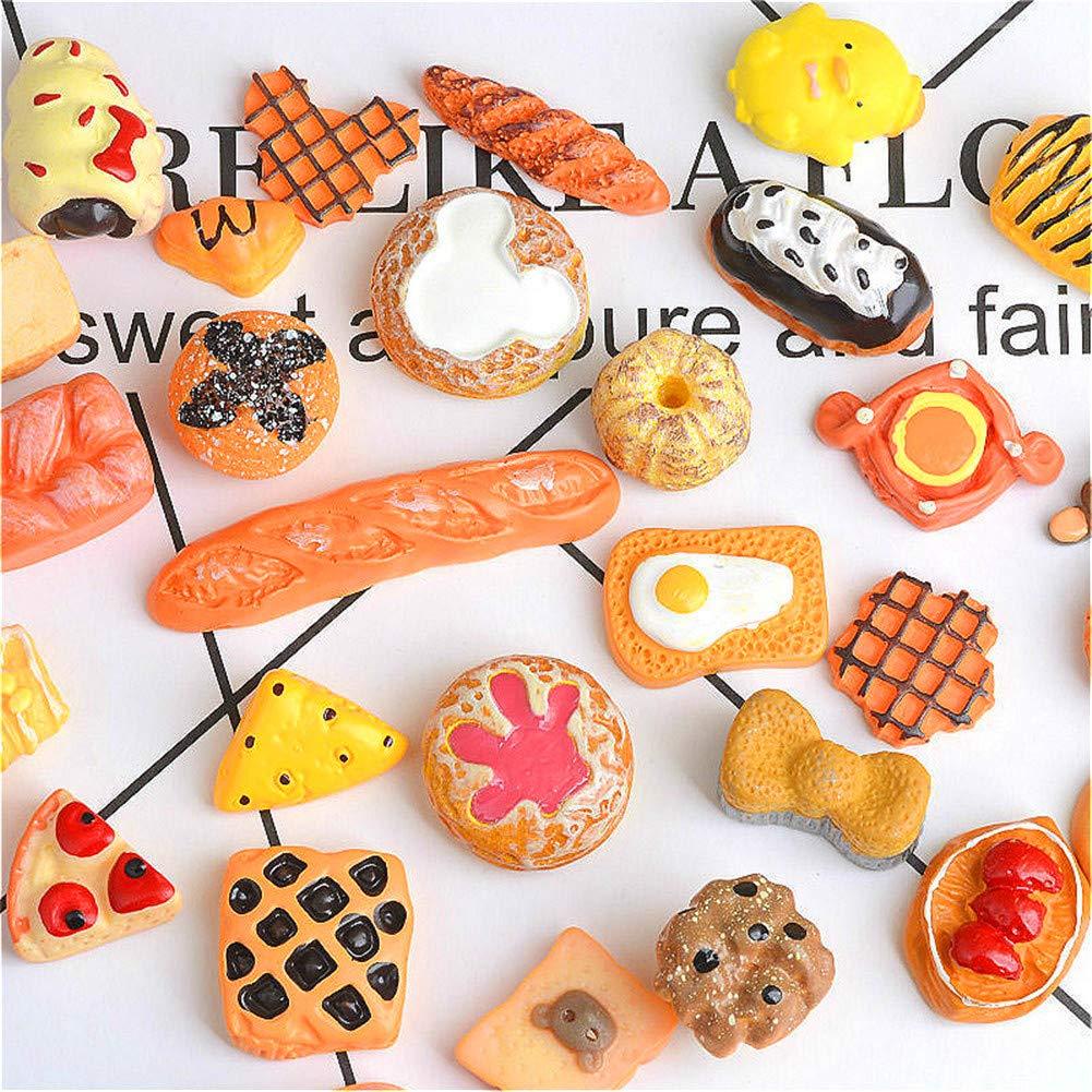 30 piezas bonitos abalorios de resina para dulces, fruta, postre, helado, eslabones de resina, botones planos, accesorios para álbumes de recortes, ...