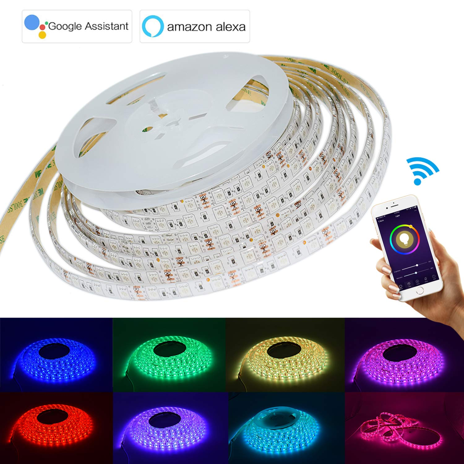 LED Strip Lights 16.4Foots 5Meter WiFi Wireless Smart Phone Controlled Waterproof Light Strip with 300 LEDs Work with Amazon Alexa Echo No Hub Required Compatible with Android and iOS