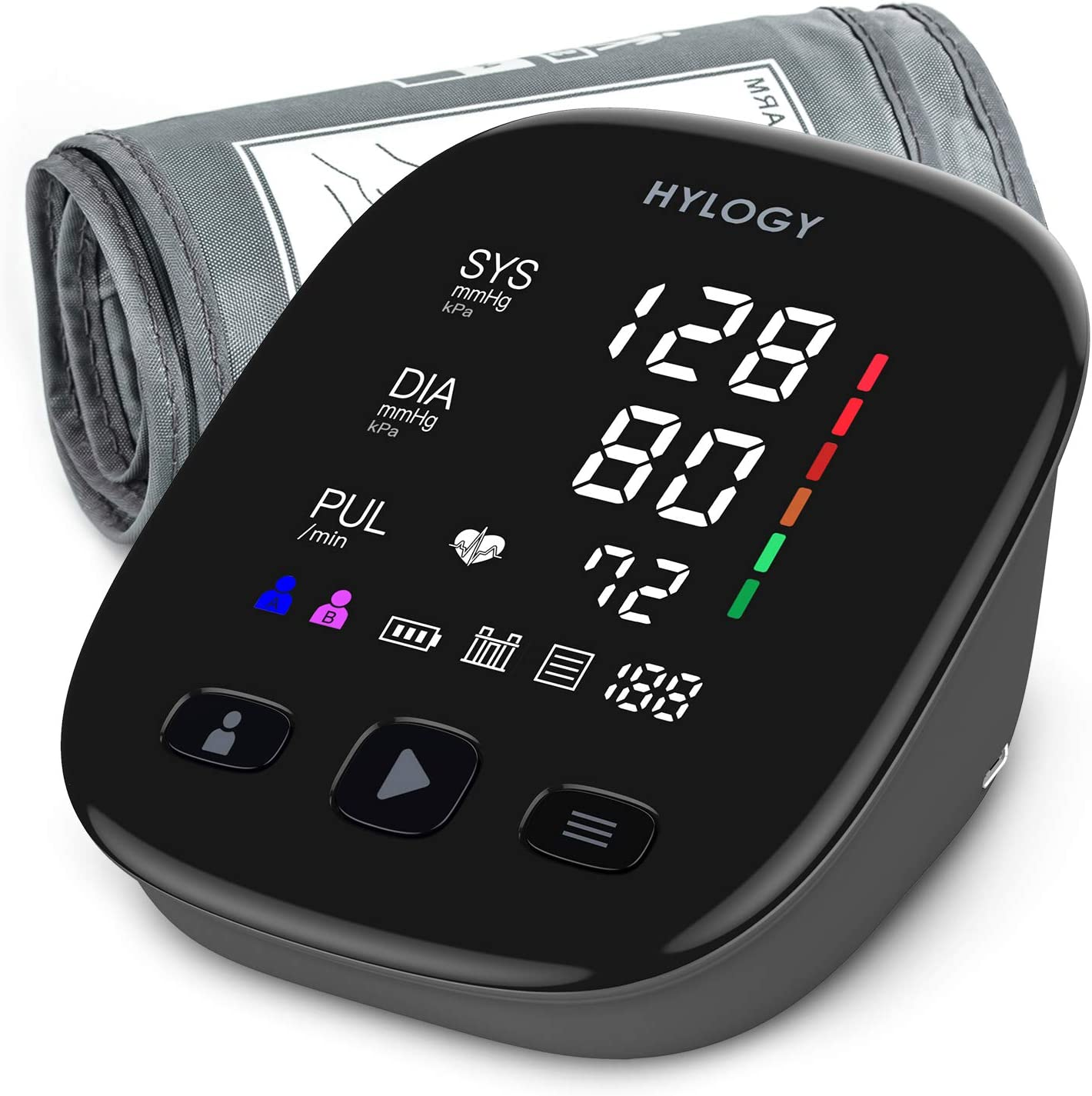 HYLOGY Tensiómetro de Brazo, Monitor de Presión Arterial Digital Automatico con Gran Pantalla LED, Deteccion de Irregular Arritmia, Brazalete 22-42cm, 2x90 Memoria y USB