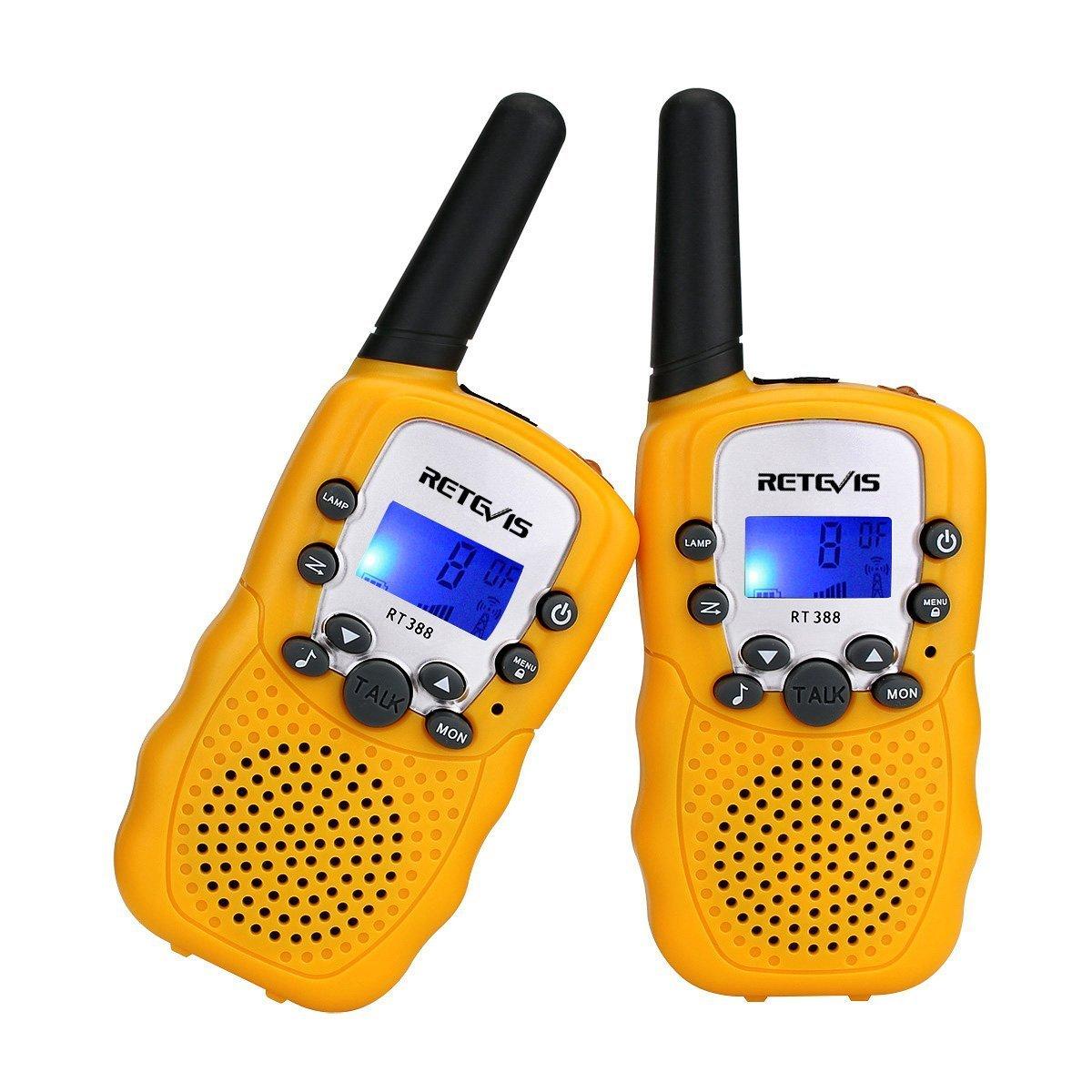 Retevis RT388 Walkie Talkie Niños PMR446 8 Canales LCD Pantalla Función VOX 10 Tonos de Llamada Bloqueo de Canal Linterna Incorporado (Azul, 1 Par) RT-388