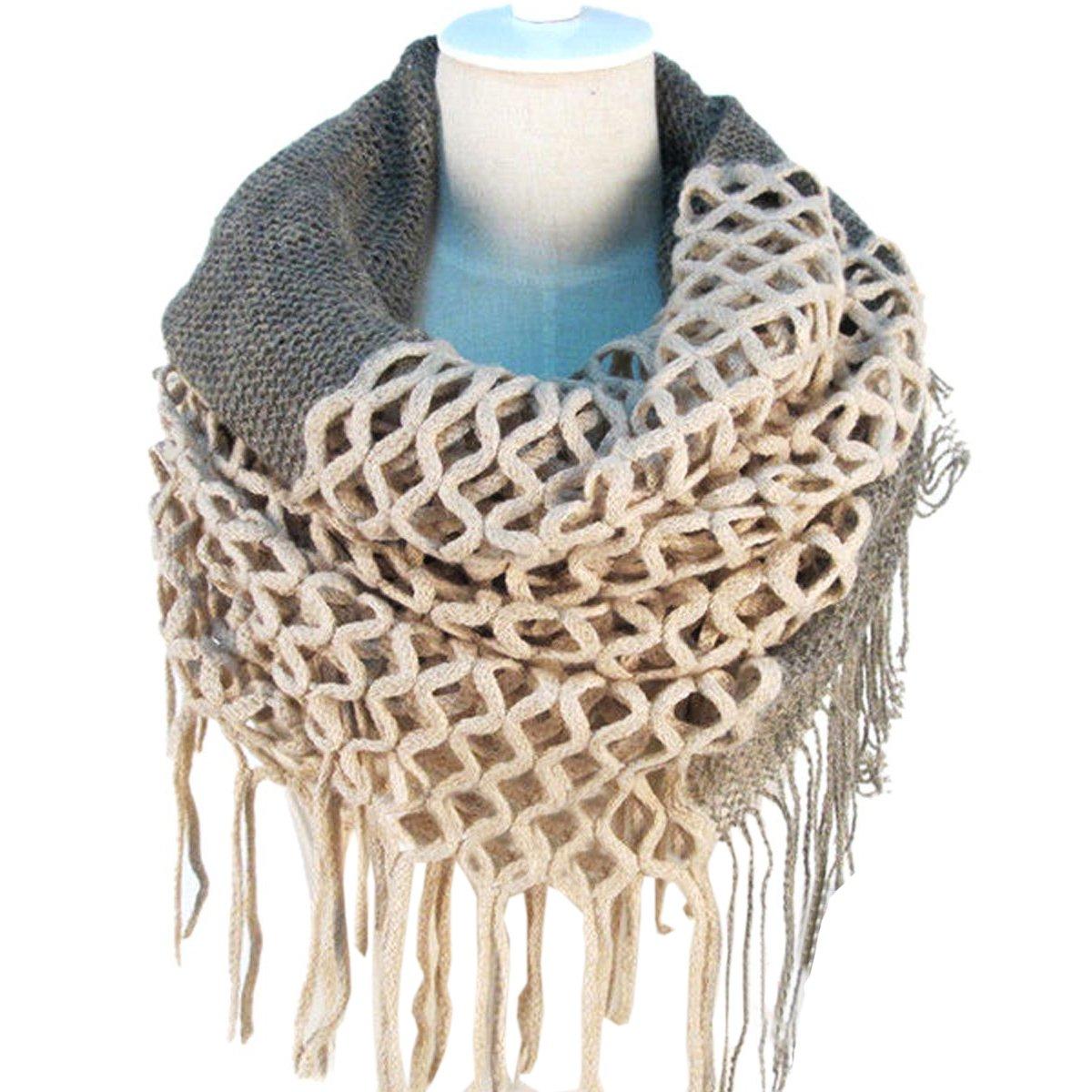 NOVAWO Fashion Women Winter Warm Knit Long Scarf Tassels Shawl Infinity & Straight