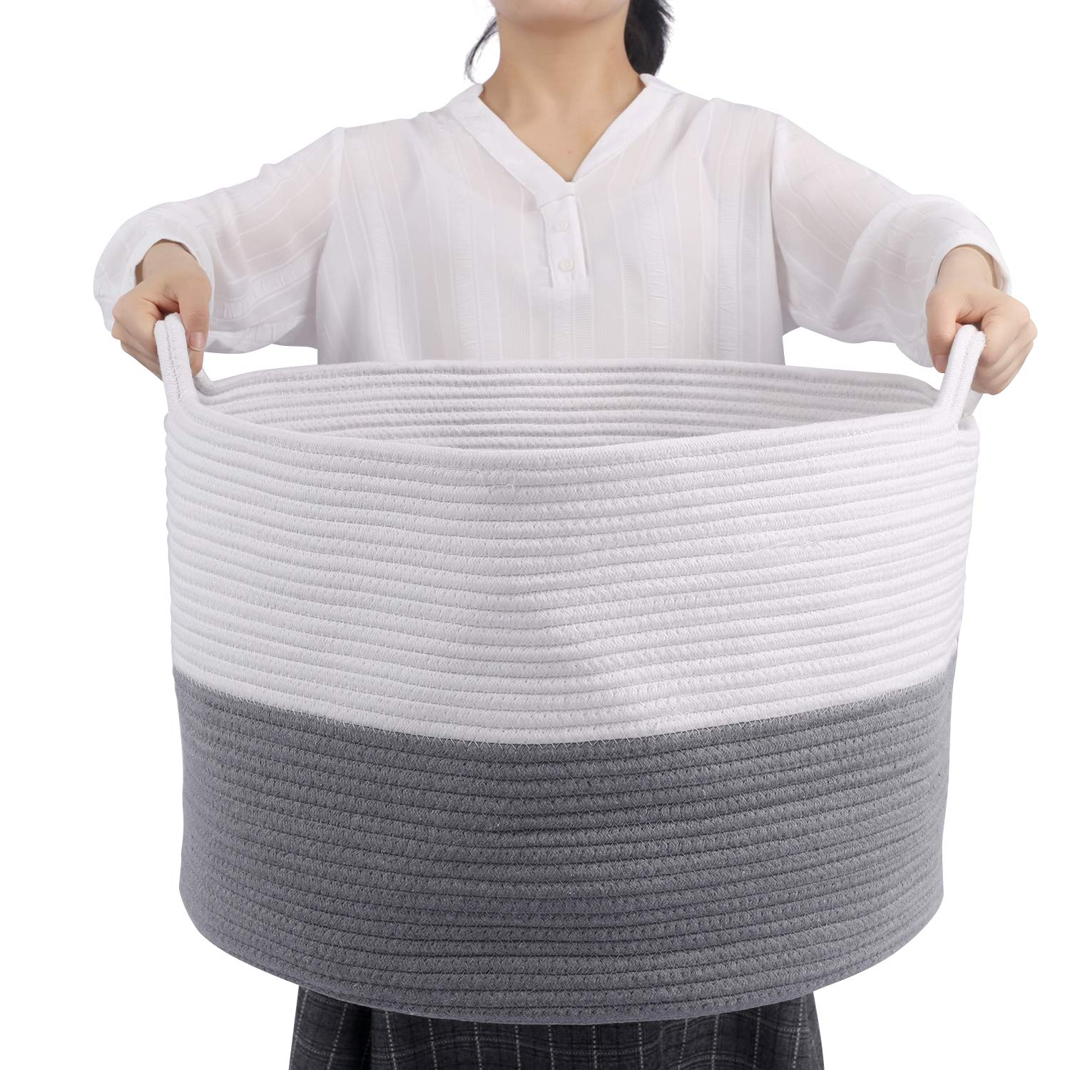 Extra Large Blanket Storage Basket in Living Room, 22'' x 14'' Cotton Rope Basket for Toys, Woven Laundry Basket with Handles, Mixed Grey and White Storage Woven Basket