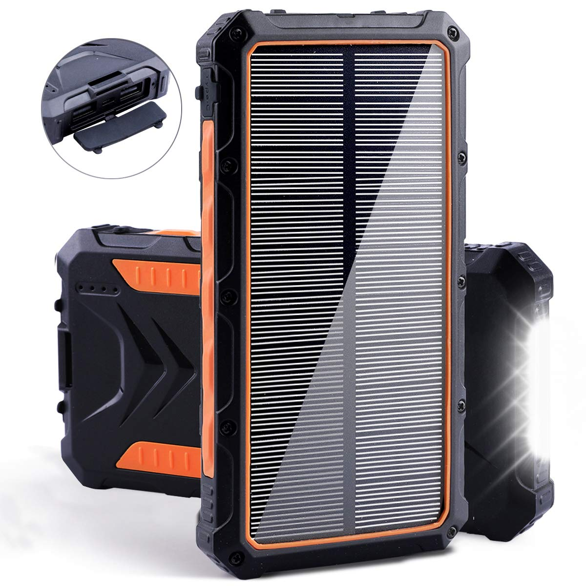 Solar Power Bank, Benfiss 20000mAh Portable Solar Charger with Dual USB 3.0A Output Port/LED Light/Type-C and External Battery Pack, Solar Phone Charger Fast Charging for Smartphone and More (Orange) by Benfiss
