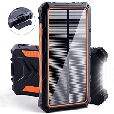 Solar Power Bank, Benfiss 20000mAh Portable Solar Charger with Dual USB 3.0A Output Port/LED Light/Type-C and External Battery Pack, Solar Phone Charger Fast Charging for Smartphone and More (Orange)