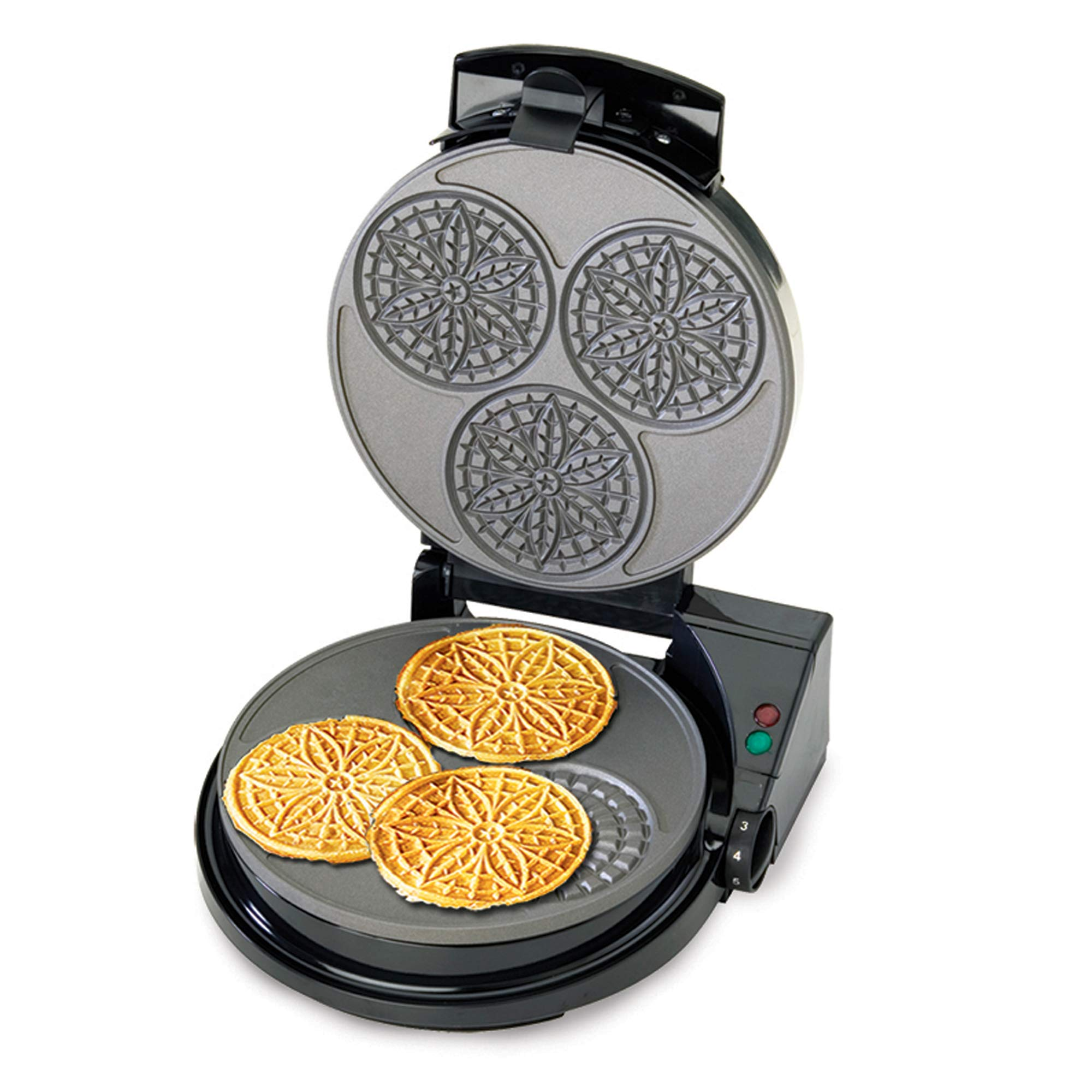Chef'sChoice 835 PizzellePro Express Bake Nonstick Pizzelle Maker Features Color Select Control and Instant Temperature Recovery Easy to Clean, 3-Slice, Silver by Chef'sChoice