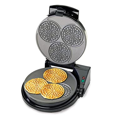 Chef'sChoice 835 PizzellePro Express Bake Nonstick Pizzelle Maker Features Color Select Control and Instant Temperature Recovery Easy to Clean, 3-Slice, Silver