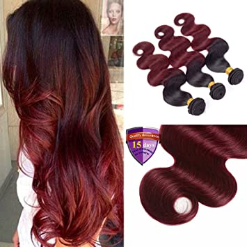 Amazon Com Ombre Hair Red And Black Ombre Brazilian Body Wave 3