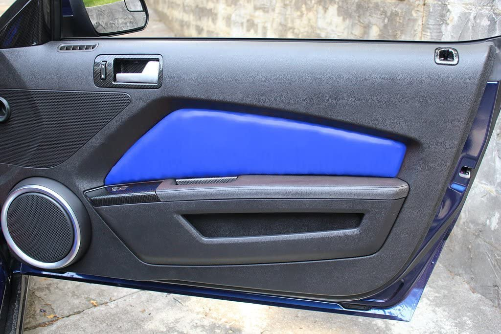 RedlineGoods Door Insert Covers Compatible with Ford Mustang 2010-14 Medium Gray Leather-Black Thread