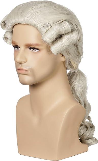 Mens Long Curly George Washington Cosplay Lawyer Halloween Costume Wig QACCF Judge Colonial Wig