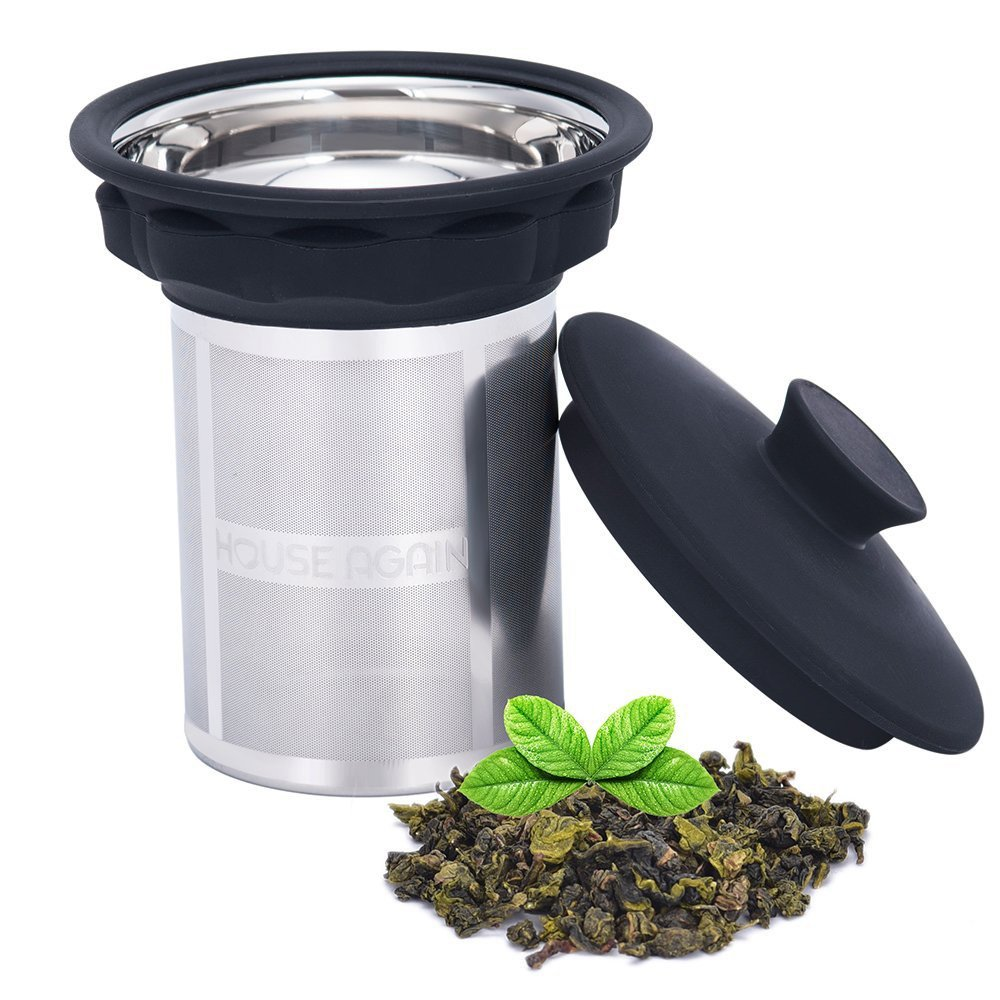 Extremely Fine Mesh Tea Infuser by House Again - Fits Standard Cups Mugs Teapots - Perfect Stainless Steel Filter for Brewing Steeping Loose Tea and Coffee, Large by HOUSE AGAIN