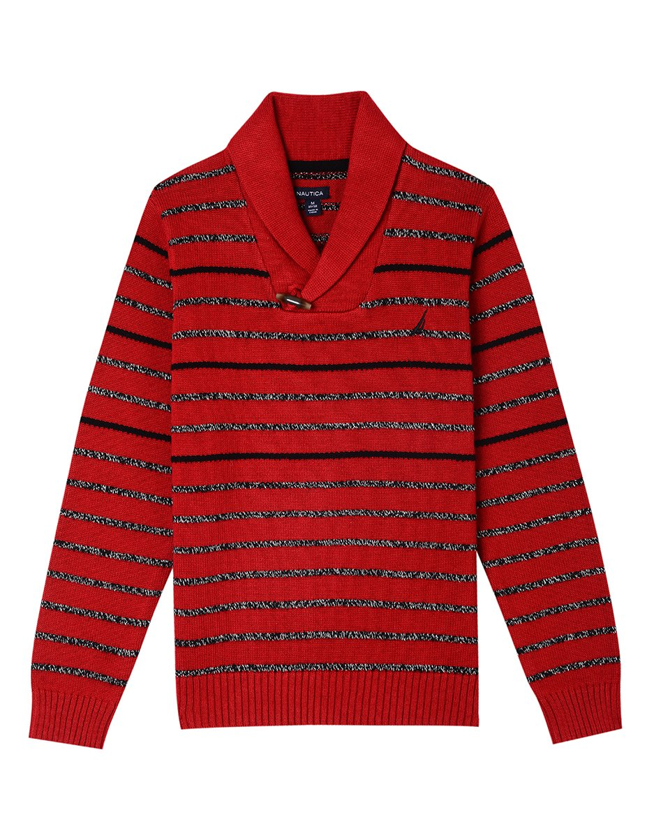 Nautica Boys' Toddler Shawl Collar Sweater with Neck Toggle Closure, Skipper red Rouge, 3T