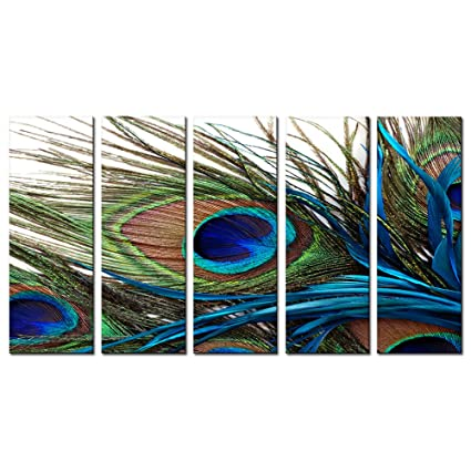 Canvas Prints Wall Art Peacock Feathers Painting Bird Plume Modern Art For Living  Room Decoration Ready