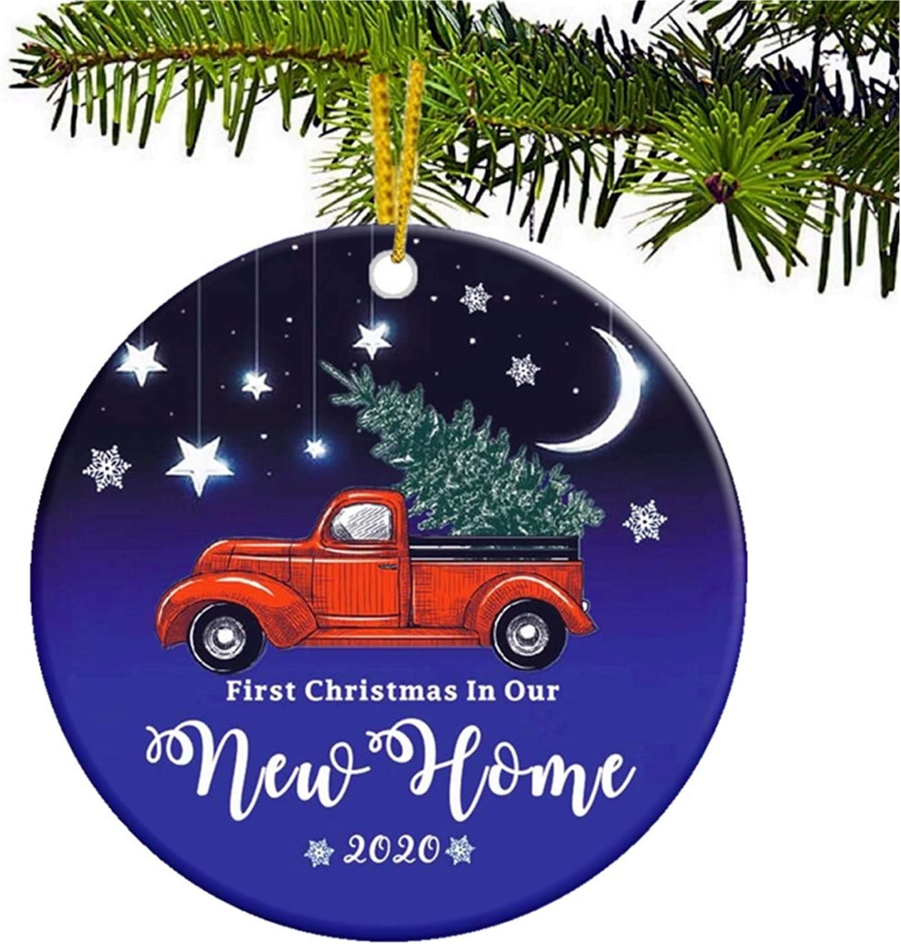 JUPPE First Christmas in Our New Home 2020 Ornament Starry Sky Xmas Tree Decoration Mr & Mrs Newlywed Romantic Couples Gift (Style-5)