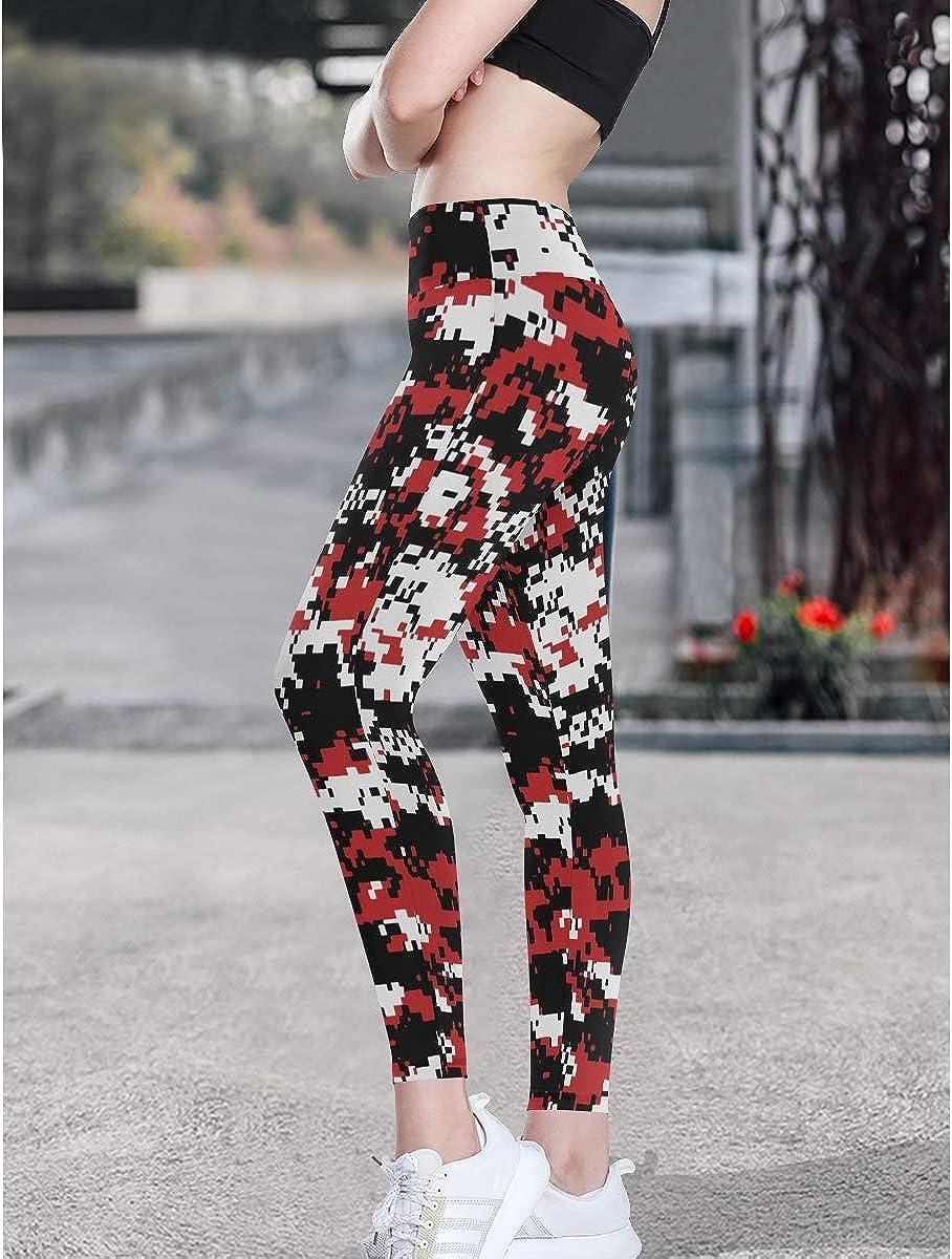 CHLBOJ Womens Stretch Yoga Leggings Cow White Black Spot Pattern Low Rise Long Pants